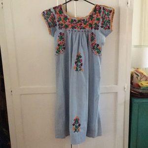 Absolutely stunning sky blue Oaxacan dress!